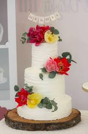 More Details Rustic Buttercream Tiered Wedding Cake With Fresh Flowers And Mr Mrs Bunting Topper Victorias