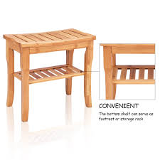 Wood Shower Seat Bench Bathroom Spa Bath Organizer Stool Storage