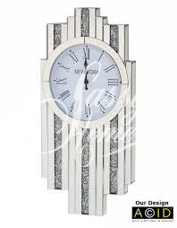 100 Art Deco Shape Glitz Diamond Mirrored Wall Clock CD151 SassyHome