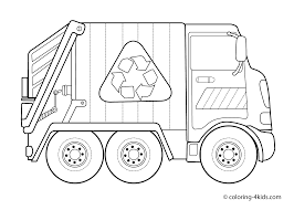 Garbage Truck Coloring Pages For Kids With Trucks