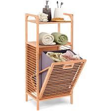 costway badregal mit waeschekorb badezimmer regal aus bambus mit 2 offenen regalfaechern herausnehmbarer stoffeinsatz mit griff