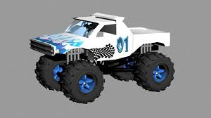 100 Blue Monster Truck Blue And White 3D Model CGTrader