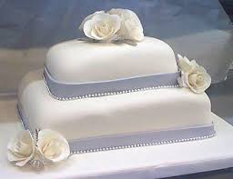 Traditional Blue And White Wedding Cake