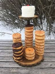 Image Is Loading Elm Wood Rustic Cake Pie 40 Donut Stand