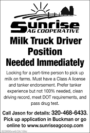 Milk Truck Driver Positions Needed Immediately, Sunrise AG ... I29 In Iowa With Rick Pt 15 Truck Drivers Wanted Schurman Farms And Grain Sauk Centre Mn Minneapolis Driving Jobs 6122000585 Crete Carrier Entrylevel No Experience Hiring Rosemount Mn Driver Recruiter Delivery Skills For Resume Fresh Personal Job Description Fearsome Thursday March 23 Mats Parking Cattle Pots Inexperienced Roehljobs Class A Cdl Local Excellent Benefits Multiple