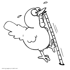 A Chicken Is Eating The Worm Coloring Page