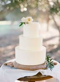 Simple White Wedding Cake Butter Cream Lime Green Floral Topper