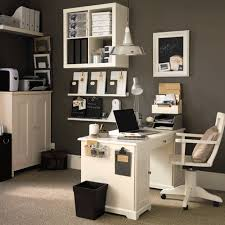 Outstanding Office Installed Inside Modern House Which Has Four In Floating Shelves Small Decorations Images