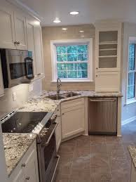 Small Kitchen Design Layouts With L Shaped Plus Granite Countertop Also Corner Sink