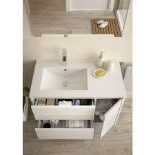 badezimmer badmöbel 85 cm aus glänzend weiß lackiertem holz mit porzellan waschtisch standard
