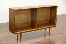 Midcentury Danish Modern 1960 Vintage Walnut Bookcase Or China Display Cabinet