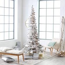 Narrow Flocked Austin Pine Pre Lit Slim Christmas Tree