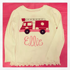 100 Fire Truck Applique Pink And Red Firetruck Applique On White Shirt With Name Girl Etsy