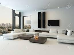 modernes design sonnigen wohnzimmer interieur mit weißen sofa