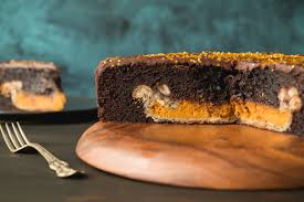Chocolate Cake with a Pumpkin Pie Inside