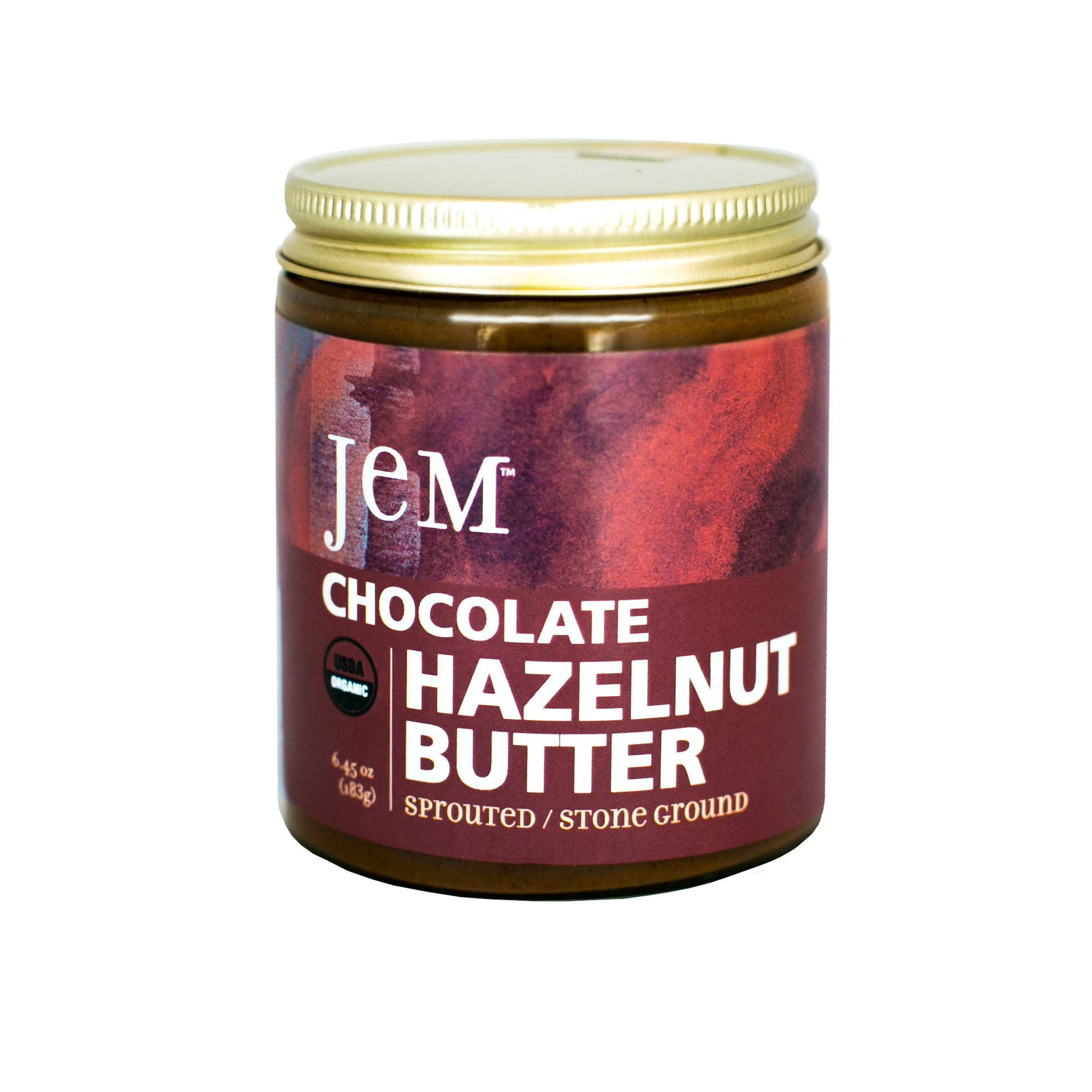 JEM USDA Certified Organic Chocolate Hazelnut Butter Spread - Vegan, NON-GMO, 6oz