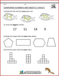 Comparing Numbers And Objects Most Printable Math Sheet For Kindergarten