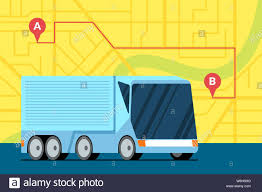 100 Gps Truck Route Modern Cargo Truck Trailer Logistic On City Map With Route A