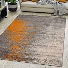 carpeto rugs modern teppich abstrakt muster kurzflor teppich für wohnzimmer schlafzimmer esszimmer versch größen und farben grau orange 80 x