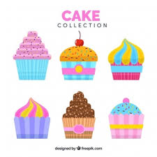 Cakes collection in flat style