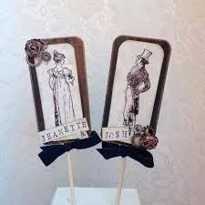 Steampunk Wedding Cake Topper Vintage Custom Rustic Victorian C