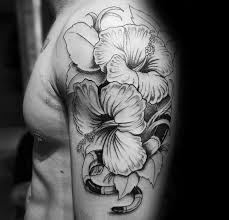 Hawaiian Flower Tattoos Black And White