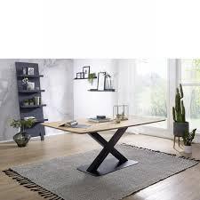 esstisch ti 0540 wildeiche massiv geölt 180x90 metall schwarz küchentisch