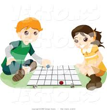 Boy And Girl Playing A Board Game Clipart