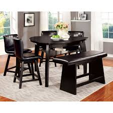 Shop Furniture Of America Karille Modern Black Counter Height Dining Bench