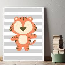 toile chambre décoration poster toile tigre déco chambre enfant bébé trendisy