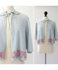 Chenille Bed Jacket by 40s Blue Bed Jacket With Chantilly Lace U0026 Satin Appliqués L Xl