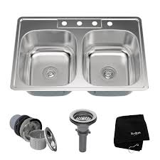 Overmount Double Kitchen Sink by Kraus Stainless Steel 33
