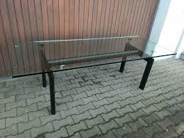 bauhaus glastisch esszimmer tisch le corbusier lc6