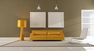 lights decors on the minimalist living room with yellow