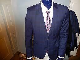 hugo plaid suit new hugo aeron1 hamen1 redline 100 wool blue plaid check