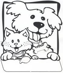 Friendly Dog And Cat Coloring Page Animal Pages Of With Regard To