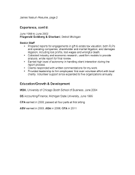 Bullet Point Resume Example Page Two
