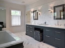 White Marble Floor Tiles With Dark Charcoal Grey Wall Cabinet