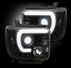 recon projector headlights for chevy and gmc recon black led
