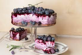 low cheesecake mit heidelbeeren