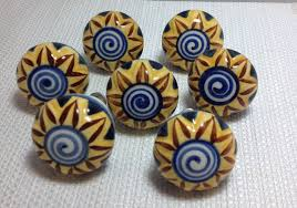 Cabinet Knobs And Pulls Walmart 7 blue yellow mediterranean style flower ceramic cabinet knobs