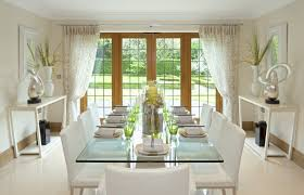 Contemporary Formal Dining Room With White Chairs Glass Table Garden View Through Doors