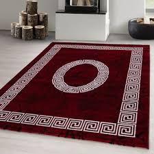 modern designer teppich kurzflor meliert soft teppich marmor optik maänder rot