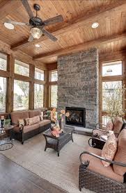 Cabin Sunroom With FIreplace