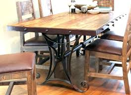 Distressed Dining Table Set Room Sets Rustic Pine Copper Black And Chairs Beautiful