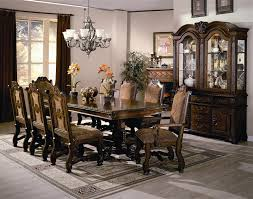 Neo Renaissance Complete Dining Set China Included In Burnished Cherry Finish By Crown Mark
