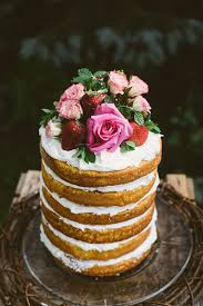 Rustic One Tier Naked Wedding Cake