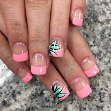 Hot Pink French Nails With Tiffany Blue Flowers and Neon Yellow
