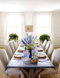 A Rustic Zinc Top Table Is The Centerpiece Of Gracious Dining Room In