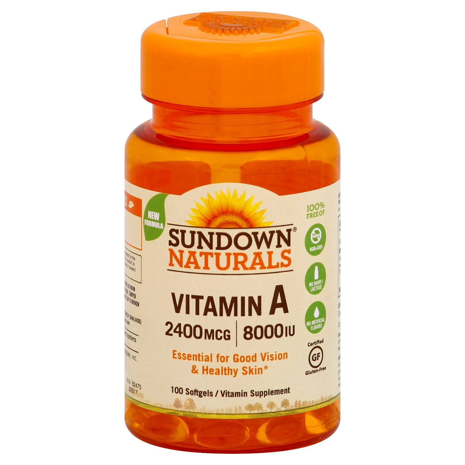 Sundown Naturals A Softgels Vitamin Supplements - 2400mcg, 8000 Iu, 100ct